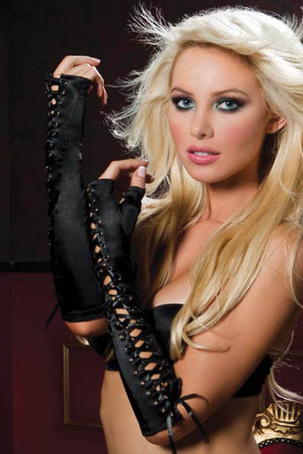 Black Long Fingerless Corset Gloves