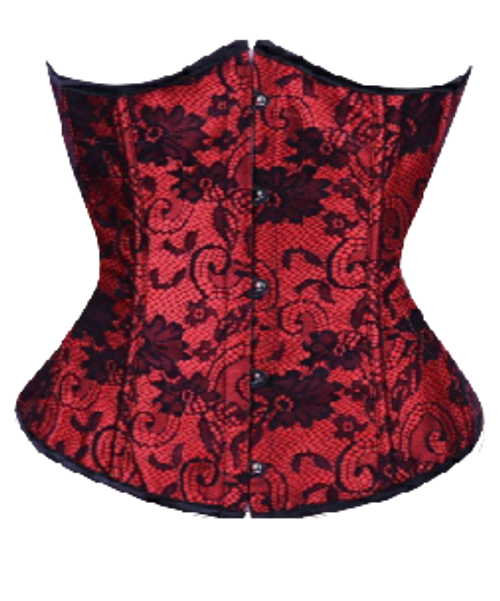 Burlesque Waist Cincher Red with Black Lace Trim