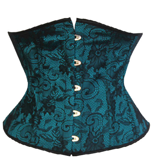 BurlesqueTorquoise Blue Waist Cincher with Black Lace