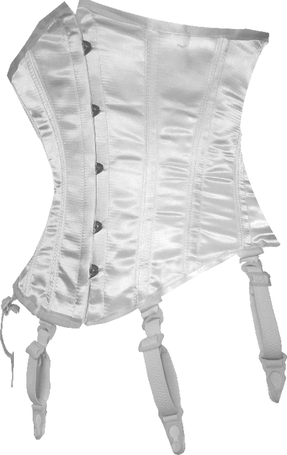 White SATIN FULLY STEEL BONED Waist Shaper