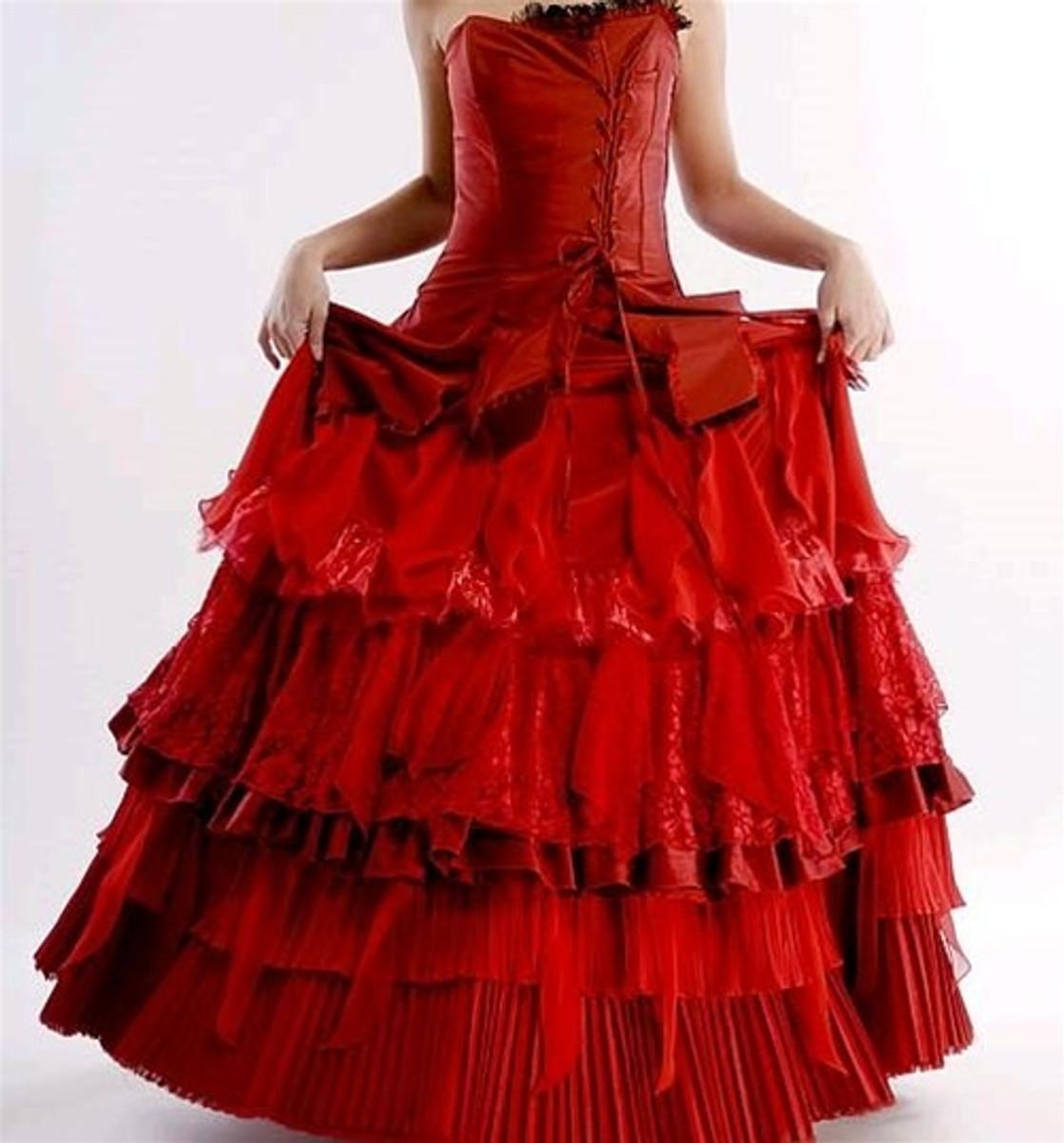 Red Corset Wedding Dress