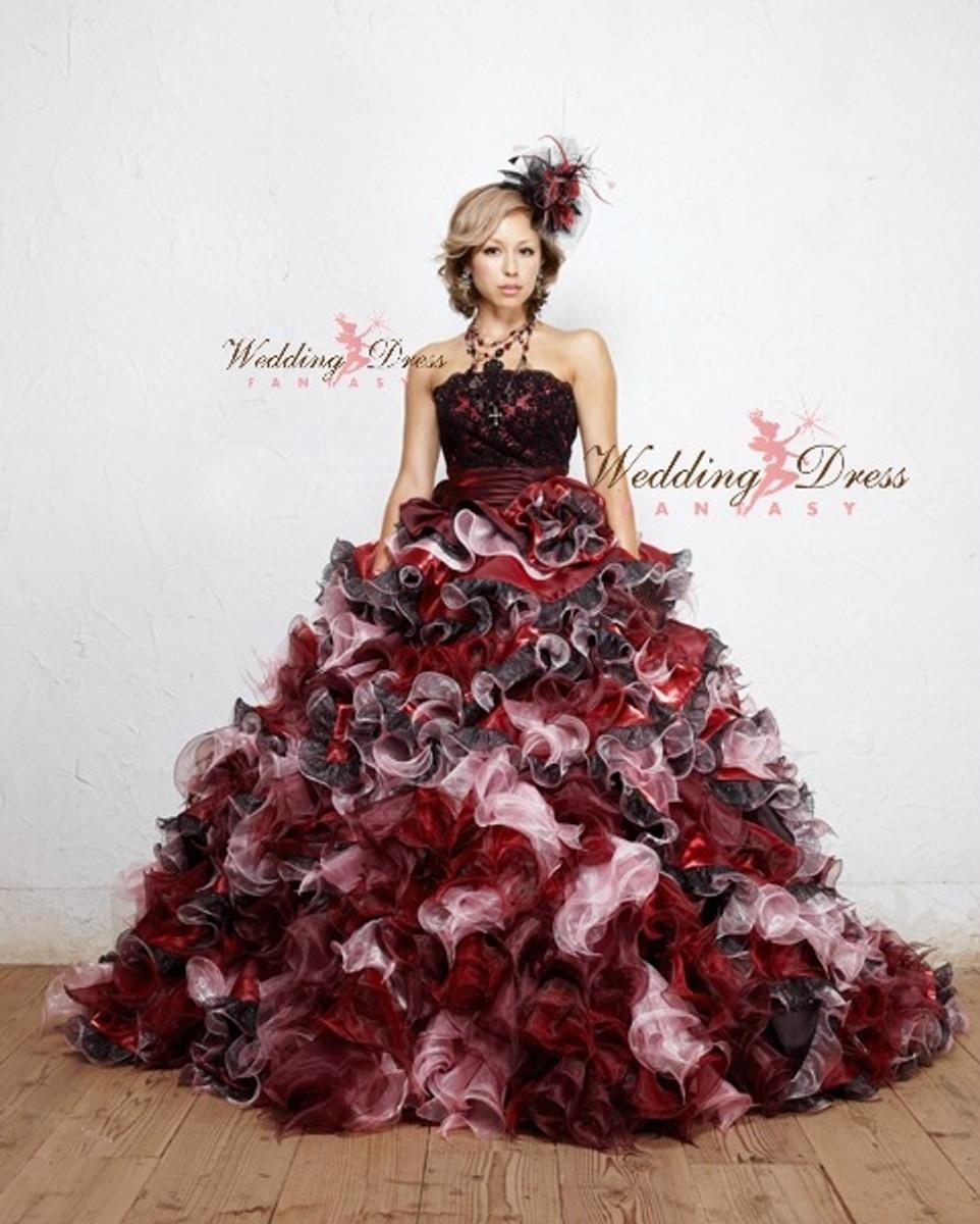 Black and burgundy wedding dresses