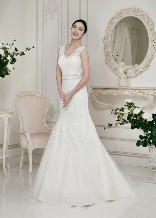 Fit and Flair Lace Wedding Dress with Straps