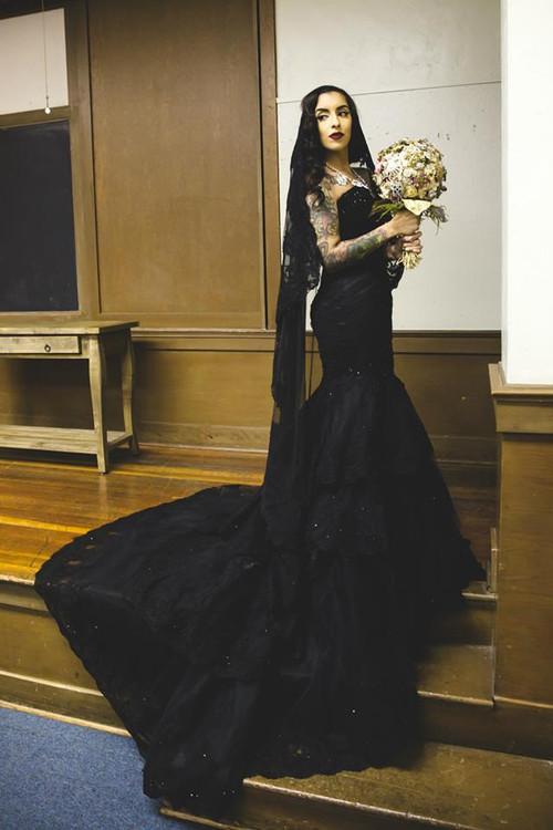 Black wedding dresses black gothic wedding gown junglespirit Choice Image