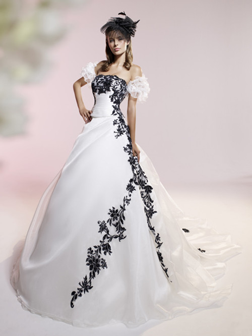 White Wedding Dress With Black Floral Appliques