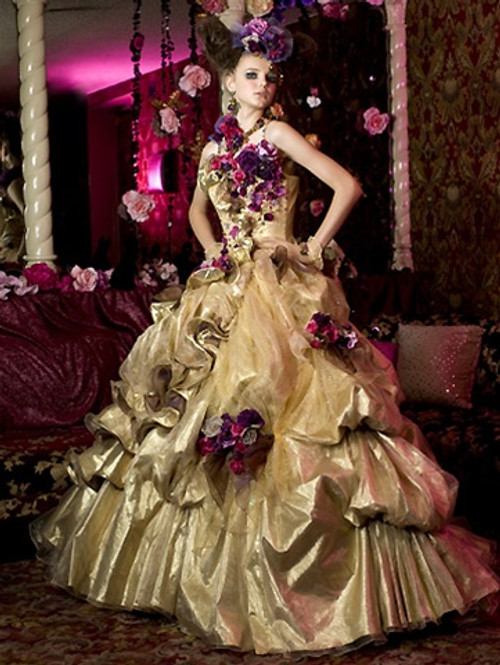 Gold yellow halloween and orange wedding dresses gold wedding dress available in every color junglespirit Images