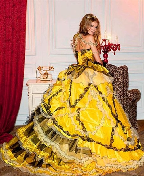 Yellow and Black Wedding Dress