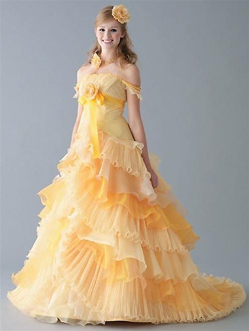 Gold Yellow Halloween And Orange Wedding Dresses