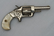 Engraved Defender Spur Trigger Revolver with Pearl Grips Right Side