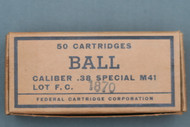 1963 Issue US Military .38 Special M41 Ball Cartridges Top