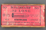 Winchester 32 Long Rim Fire staynless Cartridges 1946 Issue Top