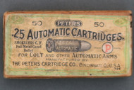 Peters .25 Automatic Cartridges Top