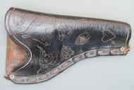 Vintage Hand Carved Large Frame Revolver Holster