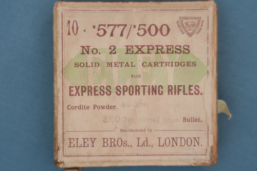 577/500 No. 2 Express Solid Metal Cartridges by Eley Bros. Ltd.