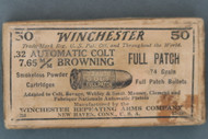 Winchester .32 Automatic Colt 7.65 MM Browning Full Patch Smokeless Cartridges Top