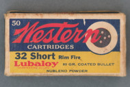 Western 32 Short Rim Fire Target Box Loaded With Nublend Powder Top