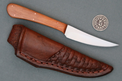 Custom Trout Knife in Tooled Leather Sheath Right Side