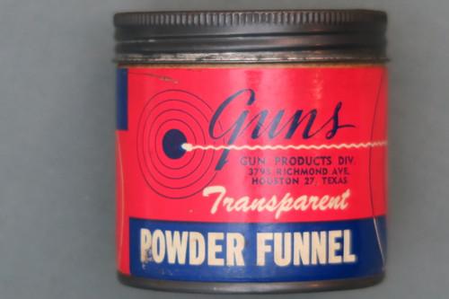 Guns Transparent Powder Funnel in Original Can Front Label