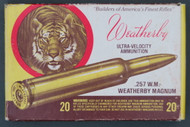 257 Weatherby Magnum 120 grain Nosler Soft Point Ammo in Tiger Box Top