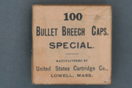 100 Bullet Breech Caps SPECIAL by United States Cartridge Co. Lowell, Mass. Top
