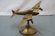 WW2 Vintage Brass Airplane Model on Desk Top Stand View 1