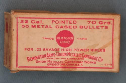 22 Savage High Power Rifle Bullets by Remington Arms - Union Metallic Cartridge Co Top