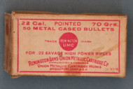 22 Savage High Power Rifle Bullets by Remington Arms - Union Metallic Cartridge Co Top