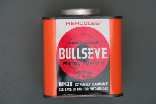 Vintage Bullseye Pistol Powder Can Sealed and Full Front