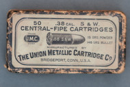 38 Cal. S&W Central-Fire Cartridges Manufactured by The Union Metallic Cartridge Co. Top