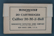 Winchester 20 Cartridges Caliber 30-M-2-Ball