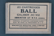 20 Cartridges Ball Caliber .30 M2 by Winchester Repeating Arms Company