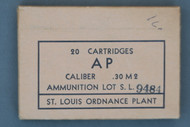 St. Louis Ordnance Plant Caliber .30 M2 Armor Piercing Cartridges