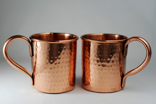 Pure Copper Hammered mugs - set of 2 - 14 oz