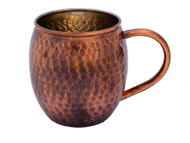 Antique Hammered Barrel Shape Copper Mug 16 oz