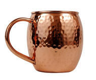 16 oz Hammered Barrel Shape Copper Mug with Nickel Lining