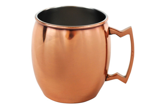 16 oz barrel-shaped copper mug with stainless steel lining