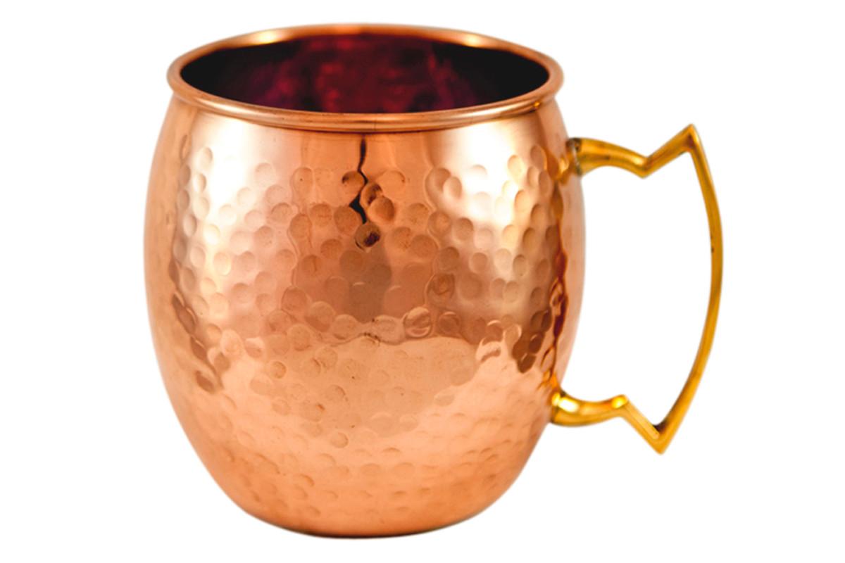 16 ounce hammered barrel shape copper mug with brass handle. Black Bedroom Furniture Sets. Home Design Ideas