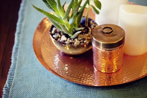 Hammered Copper Circular Tray