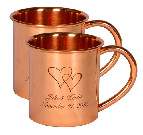 Set of 2 Engraved Copper Mugs