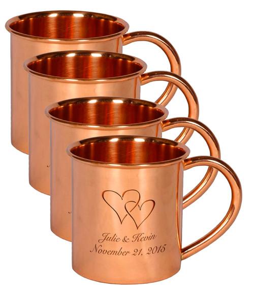 Set of 4 Engraved Copper Mugs
