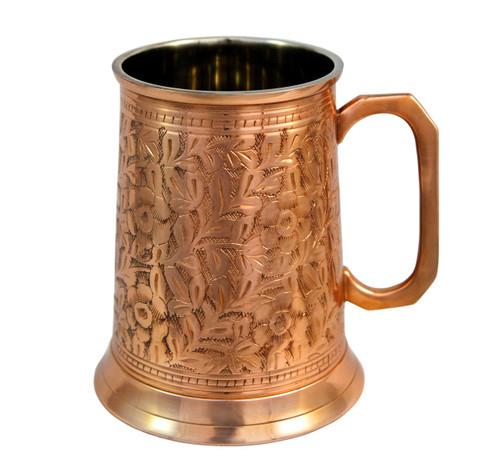 Antique copper beer stein