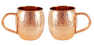 Set of 2 Hammered Barrel Copper Mugs - 16 oz