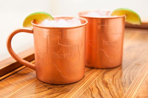 Texas State Home Copper Mug - Set of 2 14 oz Copper Mugs