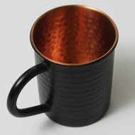 Hammered Copper Mug Matte Black Finish Outside - 16 oz