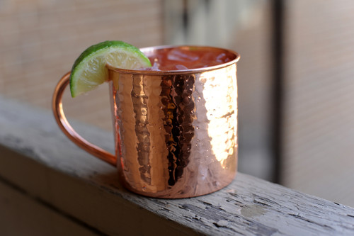 16 oz Hammered Copper Moscow Mule Mug With handle