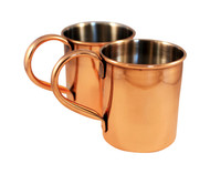 Copper Mugs Stainless Steel Lined Set of 2