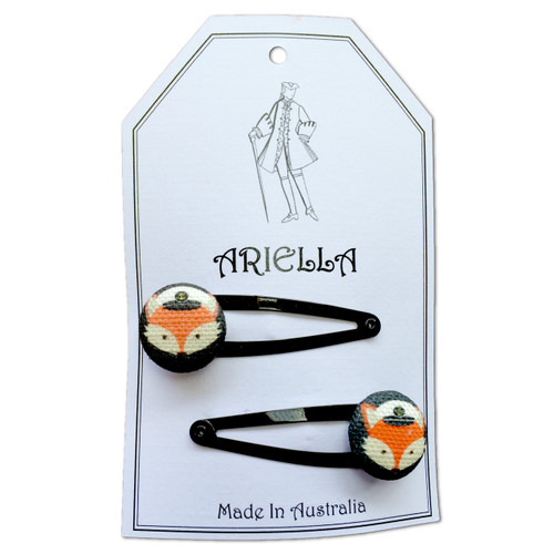 Ariella Nautical Fox Hair Clips Black