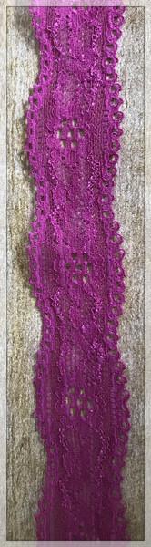 """Fuschia 1.2"""" Stretch Lace Trim"""