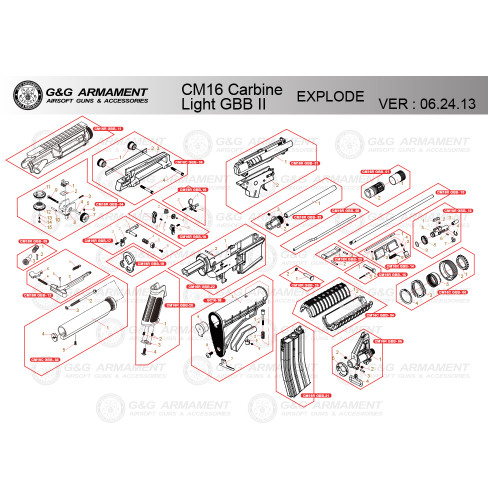 G&G AIRSOFT CM16 CARBINE LIGHT GBB II RIFLE DIAGRAM