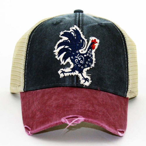 IT Hat-Distressed Trucker Red/Navy-T